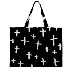 White Cross Zipper Mini Tote Bag