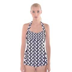 Angry Girl Pattern Boyleg Halter Swimsuit