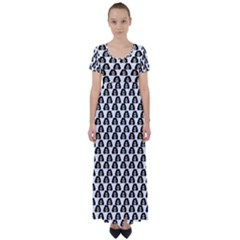 Angry Girl Pattern High Waist Short Sleeve Maxi Dress