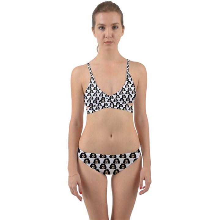 Angry Girl Pattern Wrap Around Bikini Set
