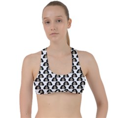 Angry Girl Pattern Criss Cross Racerback Sports Bra