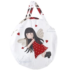 Cupid Girl Giant Round Zipper Tote by Valentinaart