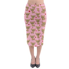 Chihuahua Pattern Midi Pencil Skirt by Valentinaart