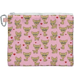 Chihuahua Pattern Canvas Cosmetic Bag (xxxl) by Valentinaart