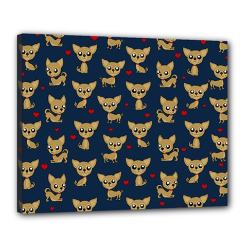 Chihuahua Pattern Canvas 20  X 16  by Valentinaart