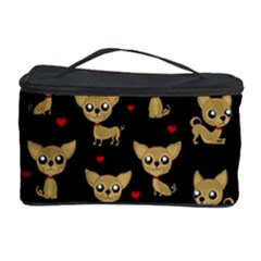 Chihuahua Pattern Cosmetic Storage Case by Valentinaart