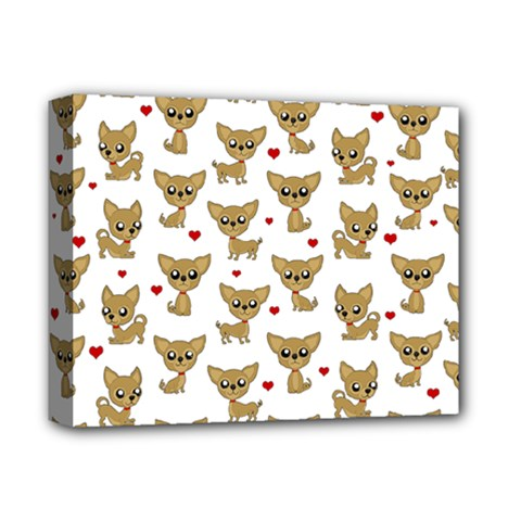 Chihuahua Pattern Deluxe Canvas 14  X 11  by Valentinaart