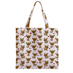 Chihuahua Pattern Zipper Grocery Tote Bag by Valentinaart