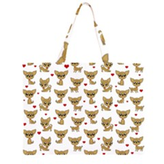 Chihuahua Pattern Zipper Large Tote Bag by Valentinaart