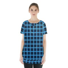 Deep Sea Tartan Skirt Hem Sports Top by jumpercat