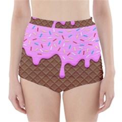Chocolate And Strawberry Icecream High Waisted Bikini Bottoms by jumpercat
