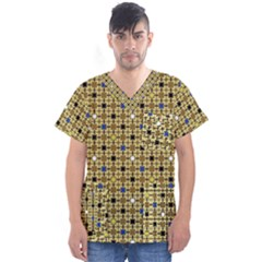 Persian Blocks Desert Men s V Neck Scrub Top by jumpercat