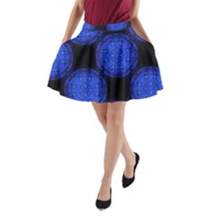 Blueberry Cosmos A Line Pocket Skirt by whimsyart2wear