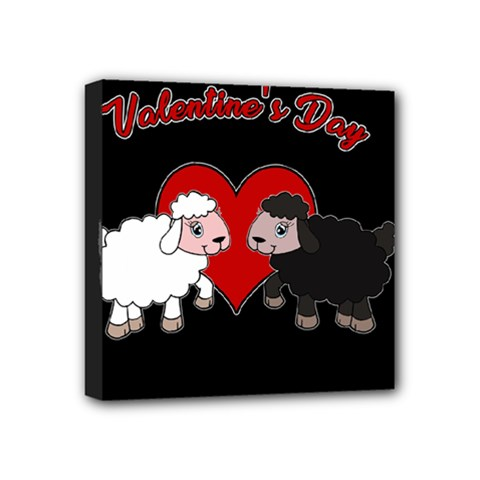 Valentines Day   Sheep  Mini Canvas 4  X 4  by Valentinaart