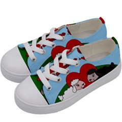 Valentines Day   Sheep  Kids  Low Top Canvas Sneakers by Valentinaart