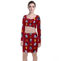Communist Leaders Long Sleeve Crop Top & Bodycon Skirt Set by Valentinaart