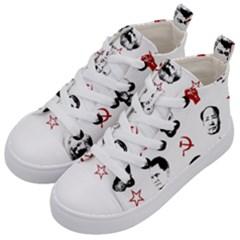 Communist Leaders Kid s Mid Top Canvas Sneakers by Valentinaart
