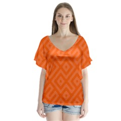 Seamless Pattern Design Tiling V Neck Flutter Sleeve Top