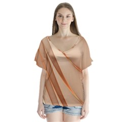 Background Light Glow Abstract Art V Neck Flutter Sleeve Top