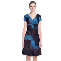 Abstract Adult Art Blur Color Short Sleeve Front Wrap Dress