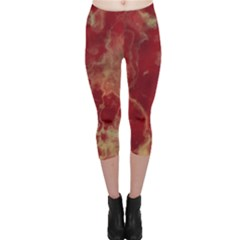 Marble Red Yellow Background Capri Leggings