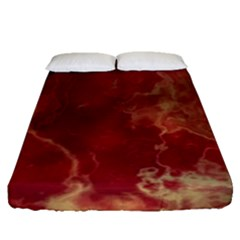 Marble Red Yellow Background Fitted Sheet (queen Size)