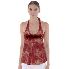 Marble Red Yellow Background Babydoll Tankini Top