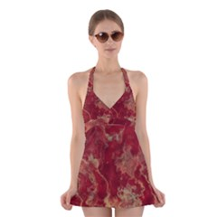 Marble Red Yellow Background Halter Dress Swimsuit