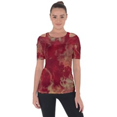 Marble Red Yellow Background Short Sleeve Top