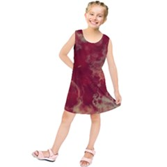 Marble Red Yellow Background Kids  Tunic Dress