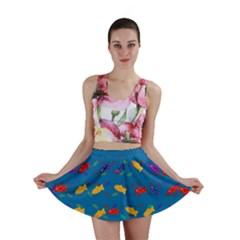Fish Blue Background Pattern Texture Mini Skirt