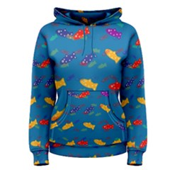 Fish Blue Background Pattern Texture Women s Pullover Hoodie