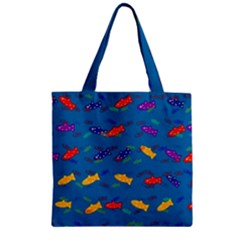 Fish Blue Background Pattern Texture Zipper Grocery Tote Bag