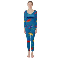 Fish Blue Background Pattern Texture Long Sleeve Catsuit