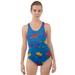 Fish Blue Background Pattern Texture Cut Out Back One Piece Swimsuit