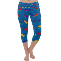 Fish Blue Background Pattern Texture Capri Yoga Leggings