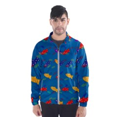 Fish Blue Background Pattern Texture Wind Breaker (men)