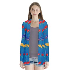 Fish Blue Background Pattern Texture Drape Collar Cardigan
