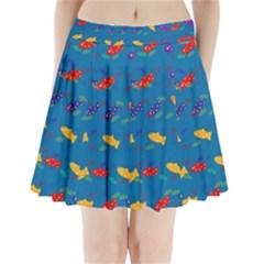 Fish Blue Background Pattern Texture Pleated Mini Skirt