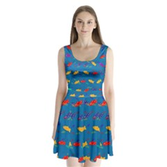 Fish Blue Background Pattern Texture Split Back Mini Dress