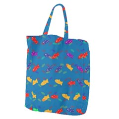 Fish Blue Background Pattern Texture Giant Grocery Zipper Tote