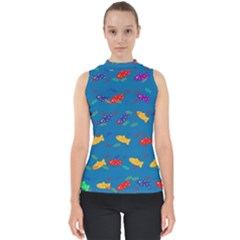 Fish Blue Background Pattern Texture Shell Top