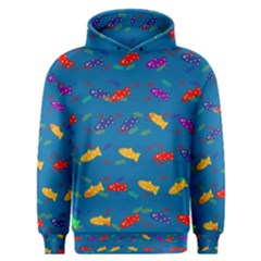 Fish Blue Background Pattern Texture Men s Overhead Hoodie
