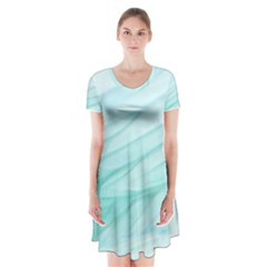 Texture Seawall Ink Wall Painting Short Sleeve V Neck Flare Dress