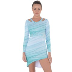 Texture Seawall Ink Wall Painting Asymmetric Cut Out Shift Dress
