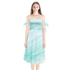 Texture Seawall Ink Wall Painting Shoulder Tie Bardot Midi Dress