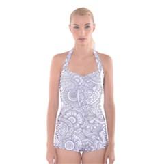 Ornament Vector Retro Boyleg Halter Swimsuit