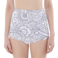 Ornament Vector Retro High Waisted Bikini Bottoms