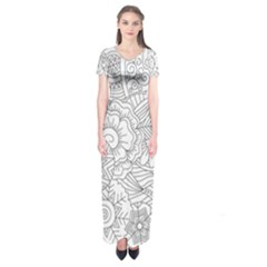Ornament Vector Retro Short Sleeve Maxi Dress