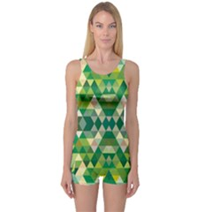 Forest Abstract Geometry Background One Piece Boyleg Swimsuit